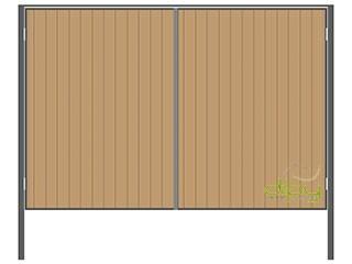 Распашные ворота со встроенным профлистом