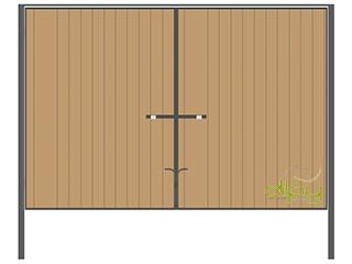 Распашные ворота со встроенным профлистом с двух сторон